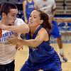 "Tribune-Star/Joseph C. Garza<br /> Joey says ""be aggressive!"": Indiana State's Taylor Whitley, right, doesn't give a member of the practice squad any room to move during team practice Monday at Hulman Center."