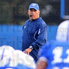 Tribune-Star/Jim Avelis<br /> Watching: Indiana State University head football coach Trent Miles watches over practice Wednesday evening as the Sycamores prepare for Western Illinois.