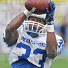 Tribune-Star/Jim Avelis<br /> Good hands: Indiana State University running back Taje High, a junior from Avon, snares a pass during practice Wednesday evening.