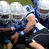 Tribune-Star file photo/Joseph C. Garza<br /> Full contact fullback: Indiana State University fullback Austen Wozniak (48) collides with a teammate as he carries the ball during the Sycamores' scrimmage Aug. 18 at Memorial Stadium.