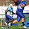 Tribune-Star/Jim Avelis<br /> Good hands: Indiana State sophomore fullback Austen Wozniak pulls in a pass during practice Wednesday.