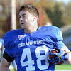 Tribune-Star/Jim Avelis<br /> Fitting right in: Indiana State sophomore fullback Austen Wozniak is from Houston Texas.