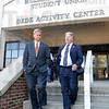 Tribune-Star/Jim Avelis<br /> Visiting: Indiana State Senator Jim Merritt and Attorney General Greg Zoeller  visited Indiana college campuses Monday talking about the Life Line law. Passed by the Legislature earlier this year, the Lifeline Law provides legal immunity to young people who seek help for someone suffering an alcohol-related medical emergency. The law is intended to prevent injuries and deaths due to alcohol poisoning related to underage drinking. Here they leave their press conference on the Indiana State University campus in Terre Haute.