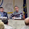 Tribune-Star/Joseph C. Garza<br /> The next question: Candidates for Vigo County Commissioner Judith Anderson, Caleb Fleschner, Paul Mason and Brad Anderson listen as moderator Max Jones asks another question during a forum Monday in the Vigo County Annex.