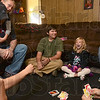 Tribune-Star/Joseph C. Garza<br /> Nothing better than beating your brothers: Seven-year-old Katelyn Newell laughs out loud as she plays a game of Uno with her brothers Monday at the family's home. Playing with her are brothers Cameron, Austin, Damian and Alex as younger brother Robbie hangs on to dad, Scott, with mom, Robin to the right.