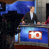 Tribune-Star/Joseph C. Garza<br /> New set to deliver the news: WTHI meteorologists David Wire and Lindsey Monroe talk on the new set in the station's new building Monday afternoon.