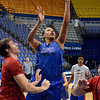 Tribune-Star/Joseph C. Garza<br /> Back up for two: Indiana State University's Racheal Mahan puts up a rebound to make a basket during team practice Monday at Hulman Center.