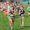 Tribune-Star/Jim Avelis<br /> Strong start: Terre Haute North runners lead from start to finish in the girl's cross country sectional race Tuesday. Out front is eventual winner Chanli Mundy.