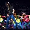 Tribune-Star/Joseph C. Garza<br /> Every day he's shufflin': Indiana State University student and Pi Kappa Phi member Jerry Cooper, center, of Charlestown dances to LMFAO's Party Rock during the Sycamore Sync Tuesday at Hulman Center.