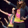 Tribune-Star/Joseph C. Garza<br /> Funky music moves: Indiana State University students show off their dance moves during Sycamore Sync as part of Homecoming Week Tuesday at Hulman Center.