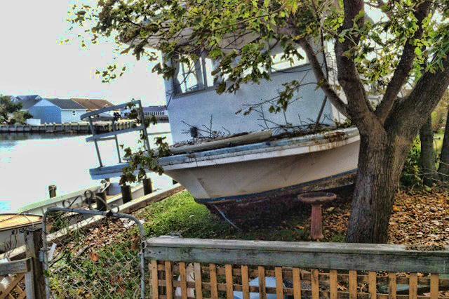 Hurricane Sandy October 2012 Boat floated into back yard.
