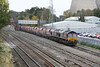 26 October 2012 :: Outside Didcot station is train 6A35, Bristol to Acton with 66141 & 66035
