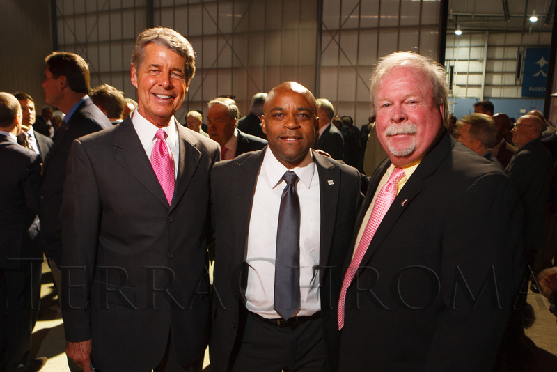 Ed Greene, Denver mayor Michael Hancock, and Craig Stadler.  The 12th Annual Men For The Cure dinner, hosted by the University of Colorado Hospital Foundation Board of Directors and benefiting the Diane O'Connor Thompson Breast Center at University of Colorado Hospital, held at the X Jet terminal, Centennial Airport, in Englewood, Colorado, on Tuesday, Oct. 16, 2012.<br /> Photo Steve Peterson