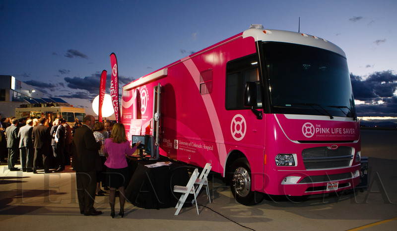 """""""The Pink Live Saver,"""" is the name given to the University of Colorado Hospital's Mobile Mammography van.  The 12th Annual Men For The Cure dinner, hosted by the University of Colorado Hospital Foundation Board of Directors and benefiting the Diane O'Connor Thompson Breast Center at University of Colorado Hospital, held at the X Jet terminal, Centennial Airport, in Englewood, Colorado, on Tuesday, Oct. 16, 2012.<br /> Photo Steve Peterson"""