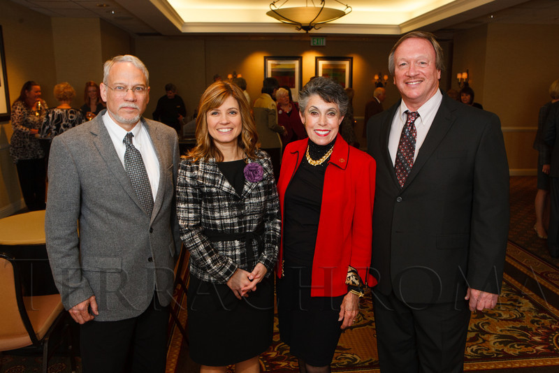 Gary Landreth, Dr. Victoria Pelak, Helen Ginsburg, and Robert Nagele.  The 13th annual Memories Lost & Found Luncheon, hosted by AWARE and benefiting the Alzheimer's Association Colorado Chapter, at the Denver Marriott City Center in Denver, Colorado, on Wednesday, Oct. 17, 2012.<br /> Photo Steve Peterson