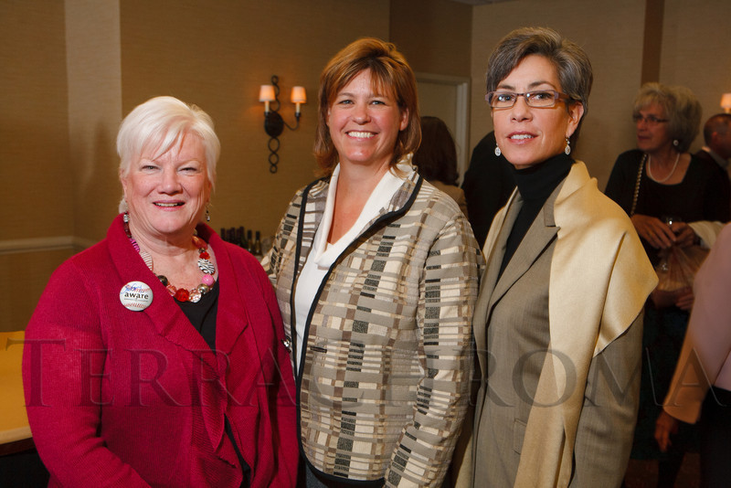 Jackie Norris, and with the national office, Carol Miller and Claudine Larocque.  The 13th annual Memories Lost & Found Luncheon, hosted by AWARE and benefiting the Alzheimer's Association Colorado Chapter, at the Denver Marriott City Center in Denver, Colorado, on Wednesday, Oct. 17, 2012.<br /> Photo Steve Peterson