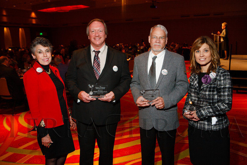 Helen Ginsburg with awardees:  Robert Nagele, Gary Landreth, and Dr. Victoria Pelak.  The 13th annual Memories Lost & Found Luncheon, hosted by AWARE and benefiting the Alzheimer's Association Colorado Chapter, at the Denver Marriott City Center in Denver, Colorado, on Wednesday, Oct. 17, 2012.<br /> Photo Steve Peterson