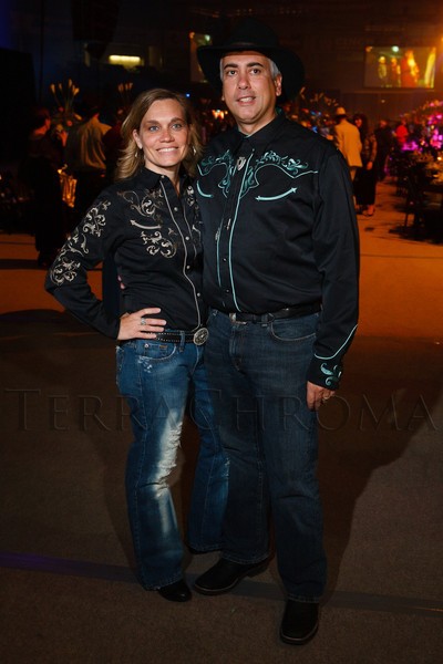 "Julie and Franco Millunzi.  The 19th annual Western Fantasy gala, themed ""Stars Over the Rockies, Legends of the West,"" a benefit for the Colorado branch of Volunteers of America, at the National Western Events Center in Denver, Colorado, on Saturday, Oct. 20, 2012.<br /> Photo Steve Peterson"
