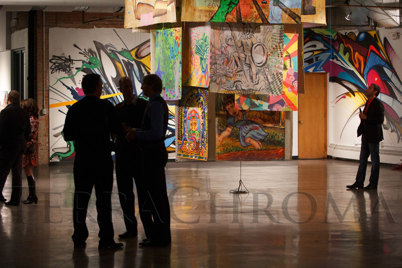 "Gallery on the third floor.  LIGHT gala, a ""Grand Re-opening Party"" for the McNichols Building, hosted by Civic Center Conservancy and Arts & Venues Denver, at McNichols Civic Center Building near Denver, Colorado, on Wednesday, Oct. 24, 2012.<br /> Photo Steve Peterson"