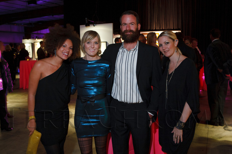 Naomi Brown, Melissa Belongea, Mike Moore (founder, Tres Birds Workshop), and Jennifer Thompson.  The Museum of Contemporary Art Denver 2012 Luminocity Gala, benefiting MCA, at 3600 Wynkoop Street in Denver, Colorado, on Thursday, Oct. 25, 2012.<br /> Photo Steve Peterson