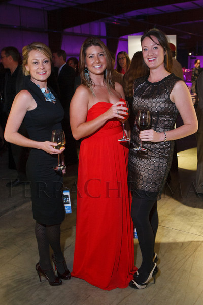 Heather Hanna (Dolce & Gabbana), Melissa Lyon (Badgley Mischka), and Rachelle Bunker (BCBGMAXAZRIA).  The Museum of Contemporary Art Denver 2012 Luminocity Gala, benefiting MCA, at 3600 Wynkoop Street in Denver, Colorado, on Thursday, Oct. 25, 2012.<br /> Photo Steve Peterson