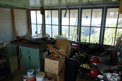 inside the lookout. It's being used as a staging place for the renovation right now. The Osborne fire finder is still visible, but much of the rest of the standard equipment is buried.