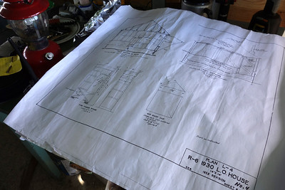 Copies of the original 1932 blueprints for the lookout. They refer to these often and are renovating with exactly the same timbers.