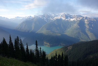 Looking south over Diablo dam with Colonial Peak and other monsters of the southern North Cascades above it.