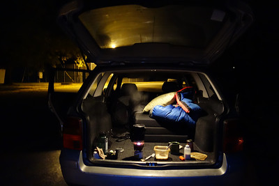 I wanted to get to the summit for the morning light, so I opted to sleep rough in the back of the trusty Passat. Coffee and oatmeal at 4:30 am.