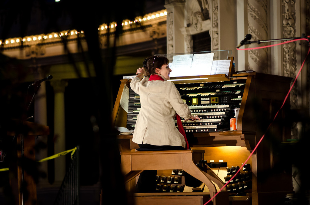 """At night, they moved the organ console out further on the stage.  Instead of wheels it is a hovercraft - it has a big fan and floats about 1/4"""" off the stage, the push it around, then flip off the fan and it settles back down."""