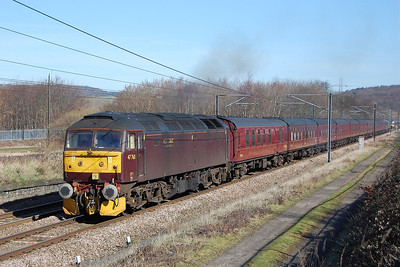 Running a mere three hours early, 47760 approaches Dockfield Junction at at Shipley with 5Z87 1259 Barnetby-Carnforth empty stock (11/03/2012)