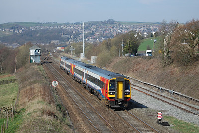 158864 leads East Midlands Trains' 1L10 1152 Liverpool Lime Street to Norwich past new Mills South Junction. A number of these diagrams have been strengthened to four cars between Nottingham and Liverpool since the timetable change last December (29/03/2012)