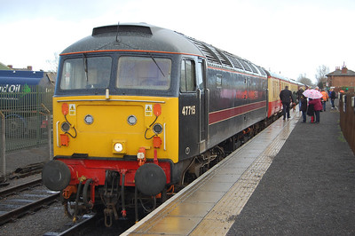 For four years in a row now the good folks of the Wensleydale Railway have kicked off the New Year with a '47' running day. During possibly the best-attended yet, 'Poseidon' waits to depart from Leeming Bar with the 1220 to Redmire (02/01/2012)