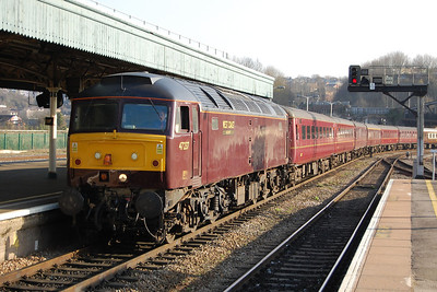 Still in 'ex-works' condition following its repaint from Advenza blue at the end of last year, West Coast Railways' 47237 arrives into BristolTemple Meads with the stock for Railtourer's 1Z77 1609 return charter to Scunthorpe via Pewsey and the ECML (10/03/2012)