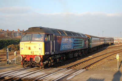 After arriving into Barrow the empty stock off 2T20 was booked to propel into Barrow Carriage Sidings to run round and the head back to Sellafield as 5T21 at 1015. 47810 is pictured here as it reverses out of the station (03/02/2012)