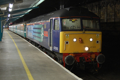 47810 'Peter Bath MBE' is pictured on arrival at Carlisle with 2T21 1648 Sellafield-Carlisle. The train was technically a Northern Rail service operated by DRS (using carriages hired in from Riviera Trains) to cater for increased numbers of commuters travelling to and from Sellafield as part of a six-week trial when workers at the nuclear site were encouraged to use public transport rather than their cars (02/02/2012)