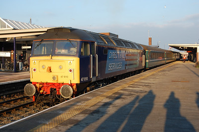 The morning train to Sellafield was booked to continue through to Barrow to replace a Northern train from Whitehaven that had to start forward from Sellafield in order to provide the path for the additional train from the north. 47810 is pictured on arrival with 2T20 (03/02/2012)
