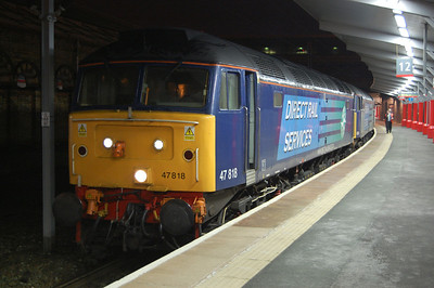 47818 is pictured on arrival at Crewe with 1Z25 2018 Wembley Central-Liverpool South Parkway football special returning Liverpool fans back from the Carling Cup Final. The loco had been run round from the rear of the train at Rugby after 47841 had run into difficulties (26/02/2012)