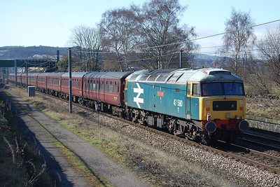 Bringing up the rear of 5Z87 was the SF47 Group's 47580. 'County of Essex' had worked the return leg of a predominantly steam-hauled charter from York back to Cleethorpes the previous night (11/03/2012)