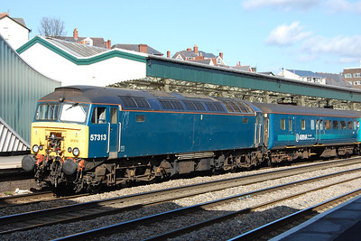 57313 waits for the right away from Newport with Arriva Trains Wales' 1V41 0807 Holyhead-Cardiff. The train was today formed of top-and-tail '57s' and hauled stock to provide additional capacity for the 'Six Nations' rugby international taking place in he Welsh capital that afternoon (10/03/2012)