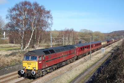 Following closely behind was 57601 with 5Z78 1135 Scunthorpe-Carnforth empty stock move off yesterday's Railtourer charter to Bristol (11/03/2012)