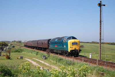 55019 'Royal Highland Fusilier' passes the golf course on the approach to Sheringham with 2C19 1149 from Holt on the second day of the North Norfolk Railway's Diesel Gala (26/05/2012)