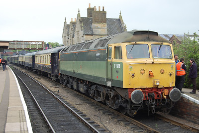 Later that atfernoon 47812 is pictured again at Wansford with the 1733 to Peterborough. The visit to the Nene Valley gala allowed the locomotive to work its first passenger trains for nearly three years (19/05/2012)