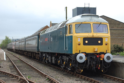 47596 'Aldeburgh Festival' is pictured on arrival back at Dereham with the 1105 from Wymondham Abbey on the second day of the Mid Norfolk Railway's Stratford Depot Weekend (06/05/2012)