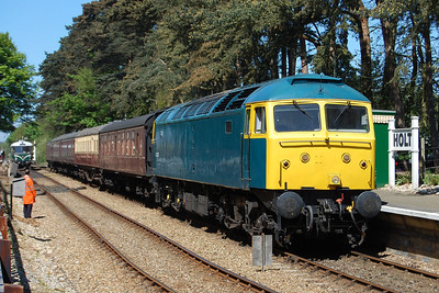 47367 is pictured on arrival at Holt with 2M30 1334 ex-Sheringham (26/05/2012)