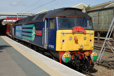 47810 'Peter Bath MBE' pauses at Crewe with 1Z70 1234 Manchester Victoria-Cardiff Central. The 30-minute dwell allowed those on the platform to experience some musical entertainment from a selection of the renowned musicians on board the train (06/09/2012)