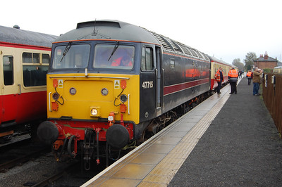 47715 'Poseidon' waits to depart from Leeming Bar with the 1200 to Redmire during a diesel running day in connection with the annual bonfire and firework display in Bedale. It's hard to believe this was only my second visit to Wensleydale this year (03/11/2012)
