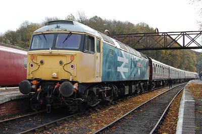 The 1210 service ran in 'top-and-tail' mode with a '47' on each end of the stock. 47640 is pictured on the rear of the train at Shackerstone (10/11/2012)