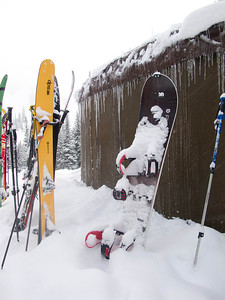 Skis and Boards outside the Barron Yurt