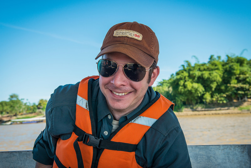 Mike's happy to be on the boat to our lodge!